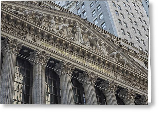 Wall Street Greeting Cards - NYSE  New York Stock Exchange Wall Street Greeting Card by Susan Candelario
