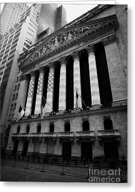 Manhaten Greeting Cards - NYSE New York Stock Exhange in lights of american flag wall street Greeting Card by Joe Fox