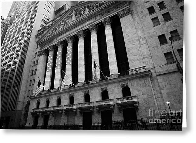 Manhaten Greeting Cards - NYSE New York Stock Exhange in lights of american flag wall street new york Greeting Card by Joe Fox