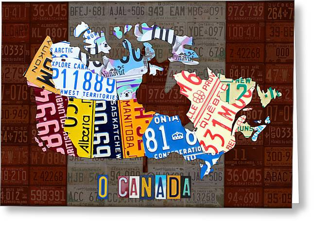 National Anthem Greeting Cards - O Canada Recycled License Plate Map of Canada National Anthem on Canadian Flag Art Greeting Card by Design Turnpike