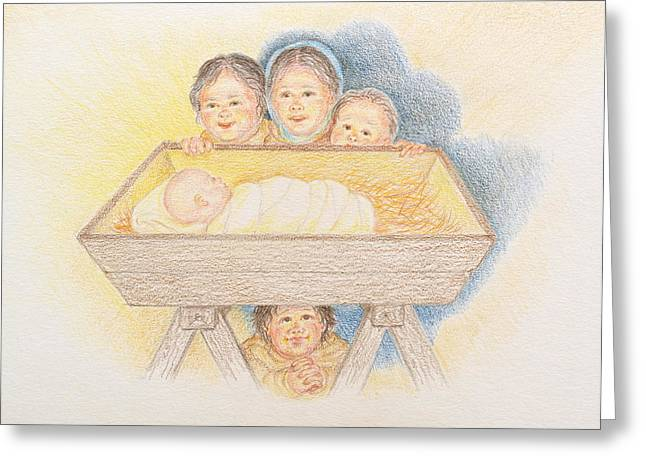 Jesus work Drawings Greeting Cards - O Come Little Children - Christmas Card Greeting Card by Michele Myers