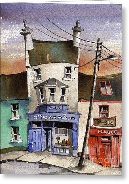 Clare Greeting Cards - O Heagrain Pub in Ennistymon   Clare Greeting Card by Val Byrne