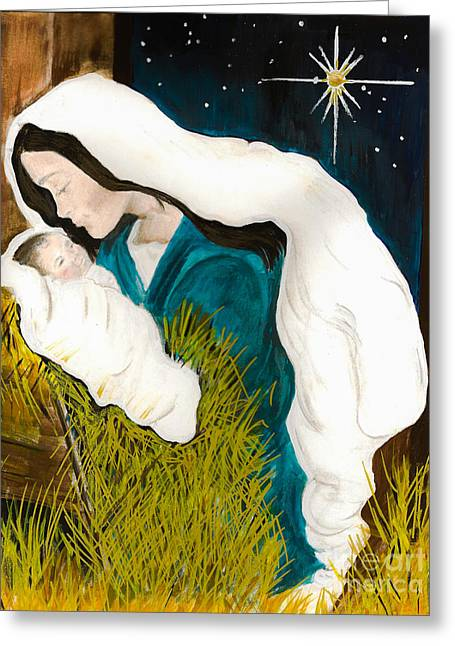 Star Of Bethlehem Greeting Cards - Mary and Baby -O Holy Night -birth of Jesus Greeting Card by Jan Dappen