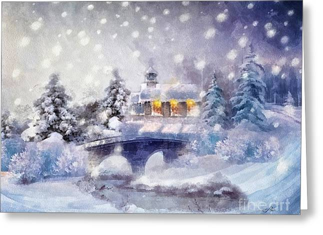 Frost Tower Greeting Cards - O Holy Night Greeting Card by Mo T
