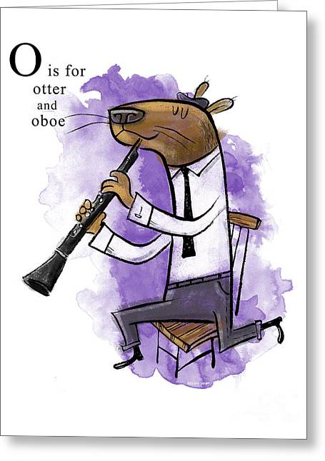 Animal Alphabet Greeting Cards - O is for Otter Greeting Card by Sean Hagan