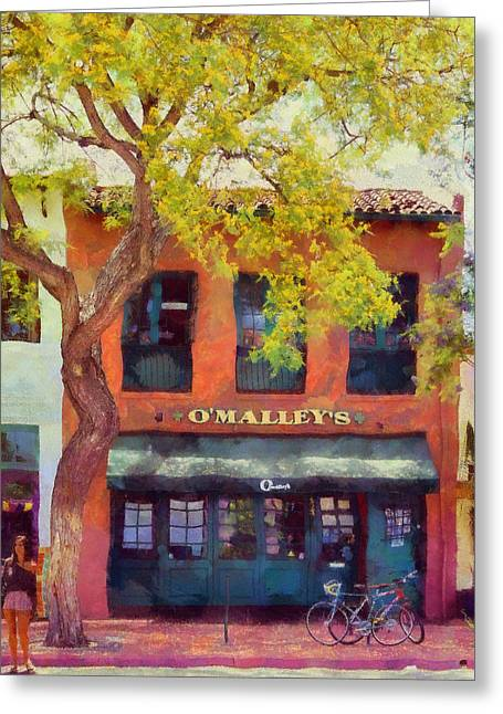 Cities Reliefs Greeting Cards - O Malleys Bar Santa Barbara Greeting Card by Viktor Savchenko