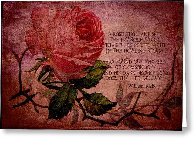 O Rose Thou Art Sick Greeting Card by Sarah Vernon