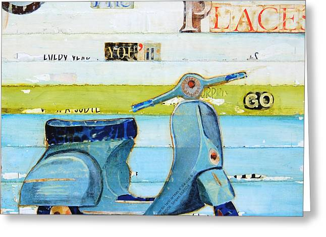 Whimsical Mixed Media Greeting Cards - O The Places Youll Go Greeting Card by Danny Phillips