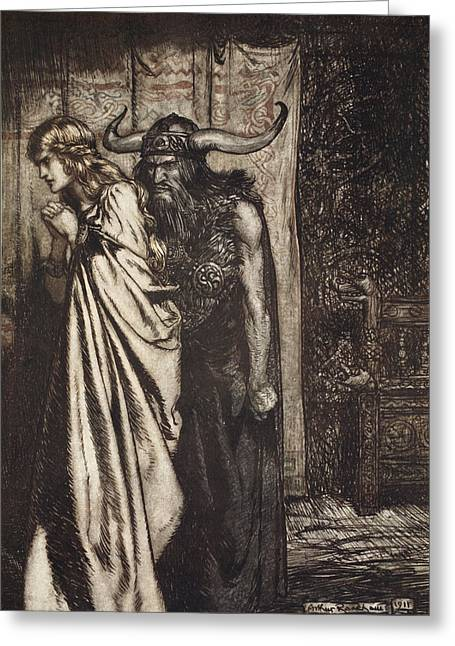 O Wife Betrayed I Will Avenge Greeting Card by Arthur Rackham
