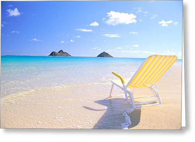 Recently Sold -  - Empty Chairs Greeting Cards - Oahu Lanikai Beach Greeting Card by Bill Brennan - Printscapes