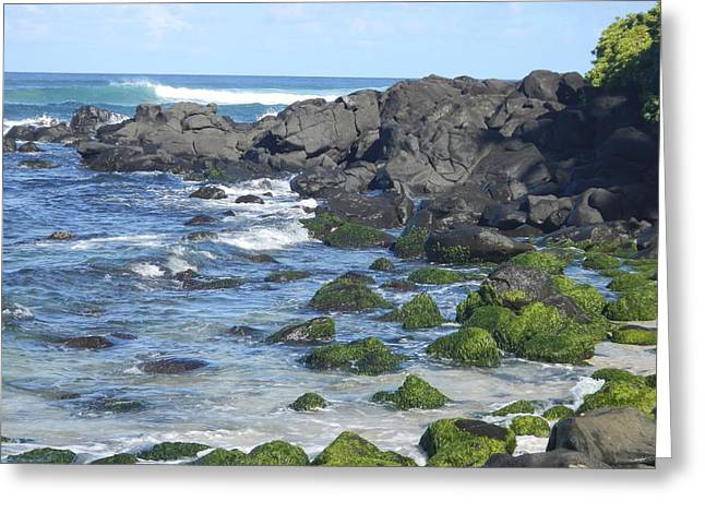 Blue Green Wave Greeting Cards - Oahu Ocean Greeting Card by Andrea McClinnis