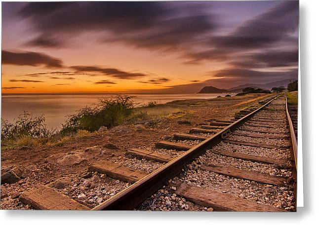 Koolina Greeting Cards - Oahu Rail Road Track Sunset Greeting Card by Tin Lung Chao