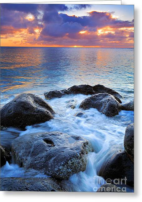 Glistening Water Greeting Cards - Oahu Shoreline Greeting Card by Inge Johnsson