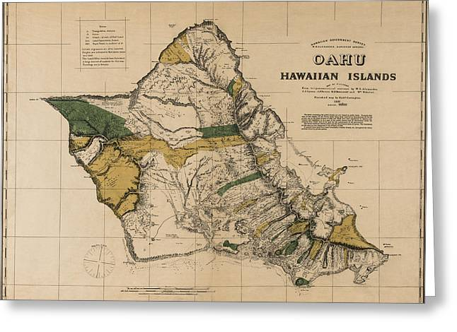 Sovereign Greeting Cards - Oahu Sovereign Hawaii Map  1881 Greeting Card by Daniel Hagerman