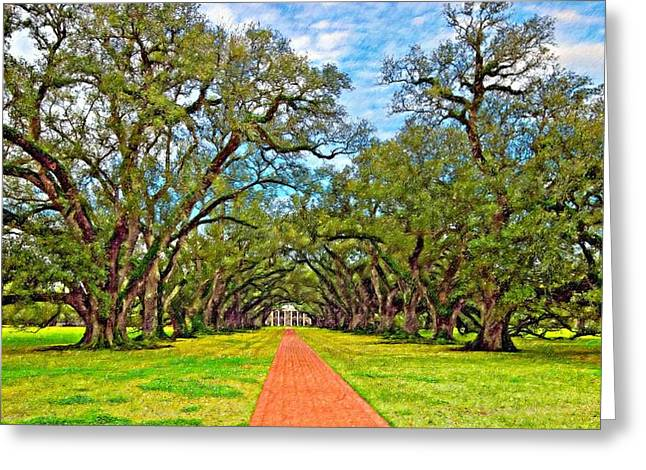 Slaves Greeting Cards - Oak Alley 3 oil Greeting Card by Steve Harrington