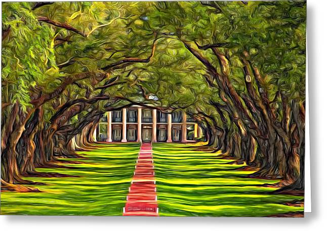Oak Alley Plantation Greeting Cards - Oak Alley - Paint 2 Greeting Card by Steve Harrington