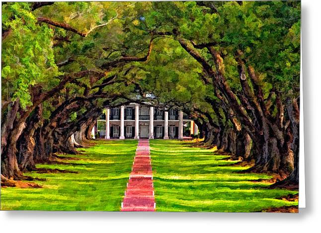 Slaves Greeting Cards - Oak Alley paint version Greeting Card by Steve Harrington