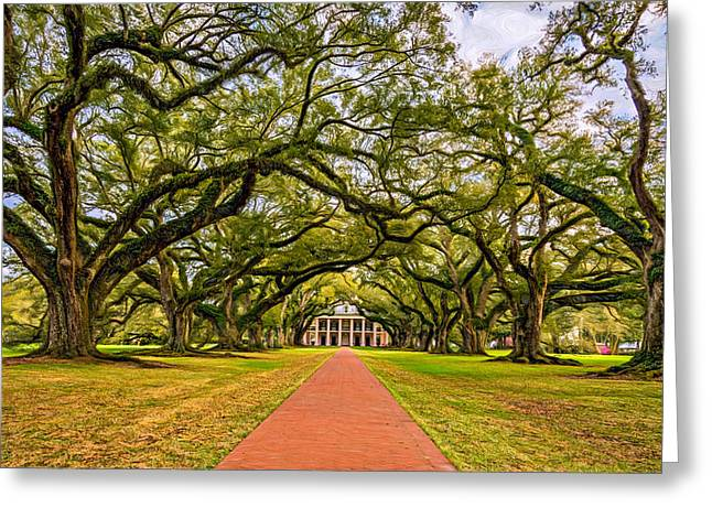Oak Alley Plantation Greeting Cards - Oak Alley Plantation - Paint Greeting Card by Steve Harrington