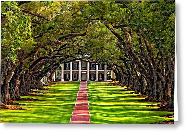 Louisiana Greeting Cards - Oak Alley Greeting Card by Steve Harrington