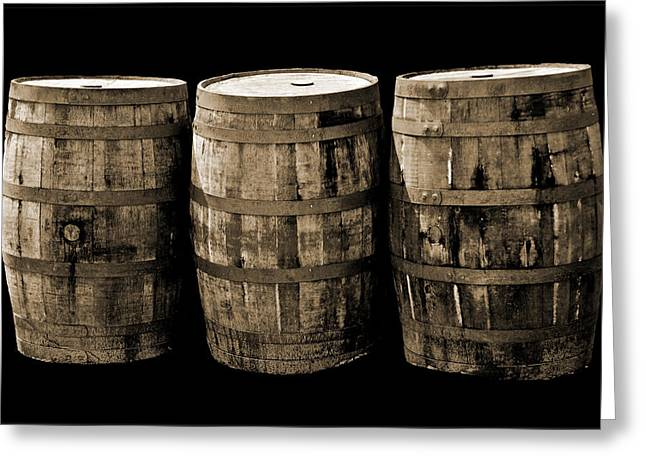 Coopersmiths Greeting Cards - Oak Barrel Sepia Greeting Card by LeeAnn McLaneGoetz McLaneGoetzStudioLLCcom