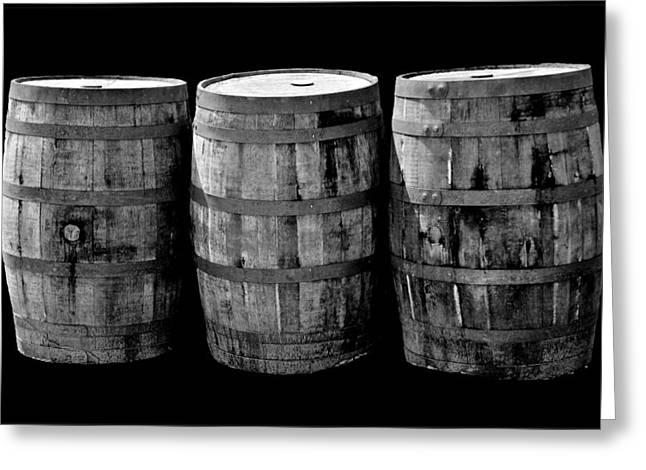 Coopersmith Greeting Cards - Oak Barrels BW on BK Greeting Card by LeeAnn McLaneGoetz McLaneGoetzStudioLLCcom