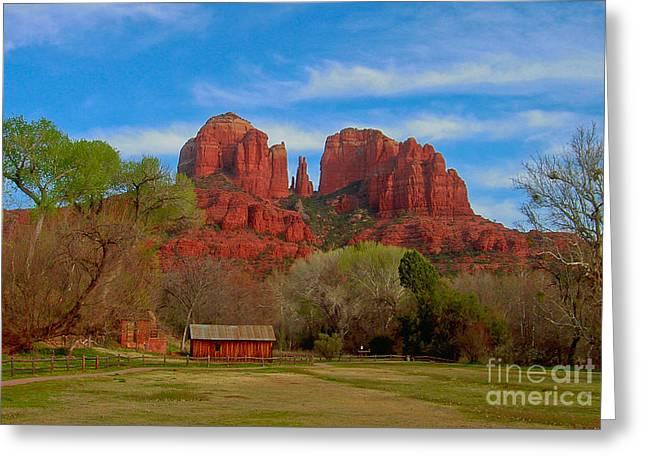 Red Rock Crossing Greeting Cards - Oak Creek Crossing Greeting Card by John Roberts