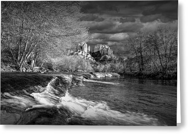 Cathedral Rock Greeting Cards - Oak Creek flowing below Cathedral Rock Greeting Card by Randall Nyhof