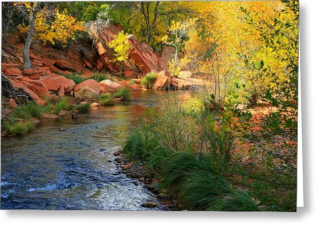 Red Rock Crossing Greeting Cards - Oak Creek Greeting Card by Miles Stites