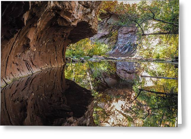 West Fork Greeting Cards - Oak Creek Reflections Greeting Card by Karen Seargeant