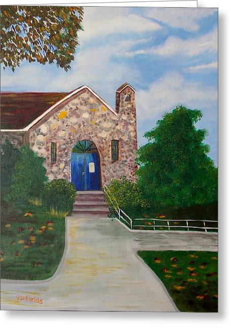 One Room School Houses Paintings Greeting Cards - Oak Glen School House Museum and Park Greeting Card by J D  Fields