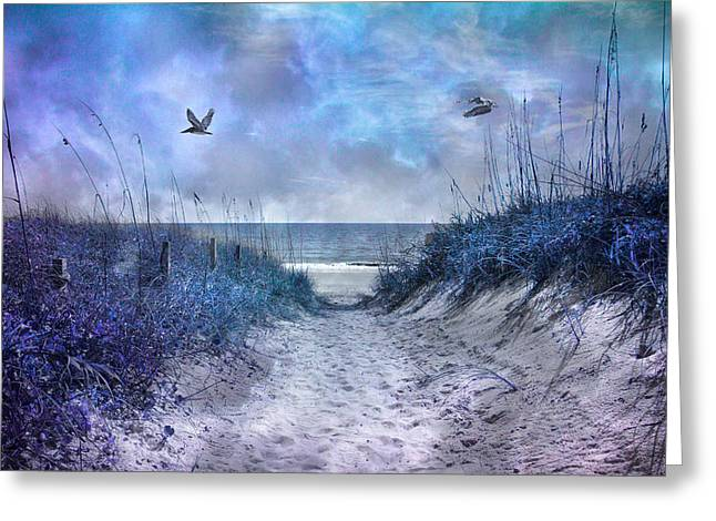 Meditative Greeting Cards - Oak Island Beachway Greeting Card by Betsy A  Cutler