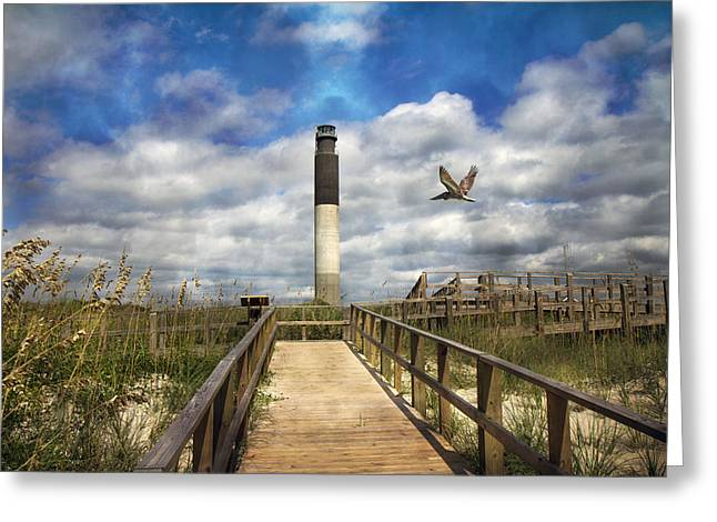 Meditative Greeting Cards - Oak Island Lighthouse Greeting Card by Betsy A  Cutler