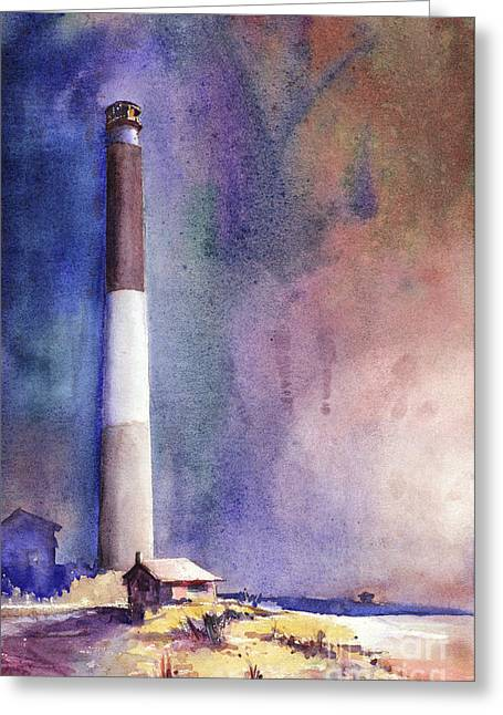 Oak Island Lighthouse Greeting Card by Ryan Fox