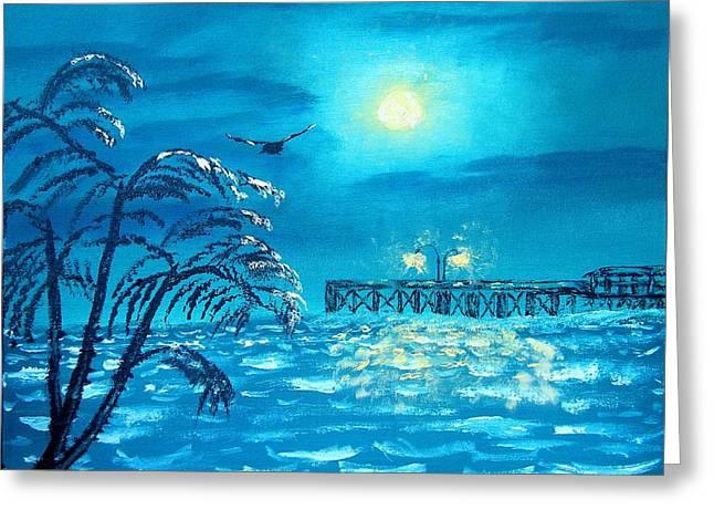Sea Moon Full Moon Greeting Cards - Oak Island Pier Greeting Card by Margaret G Calenda