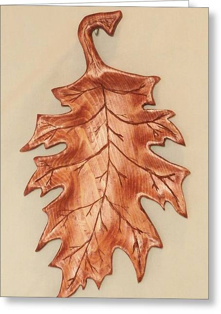Woodcarving Sculptures Greeting Cards - Oak Leaf Candy Dish Greeting Card by Russell Ellingsworth