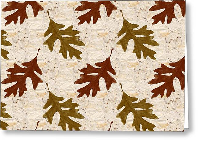 Browns And Golds Greeting Cards - Oak Leaf Pattern Greeting Card by Christina Rollo