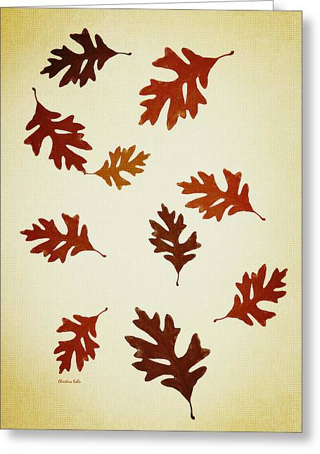 Oak Leaves Pattern Aged Greeting Card by Christina Rollo