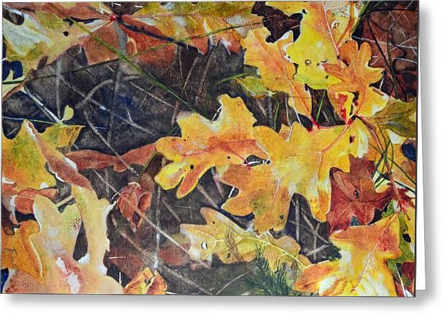 Terri Waters Paintings Greeting Cards - Oak Leaves Greeting Card by Terri Robertson