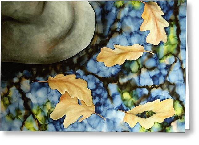 Blue Green Water Tapestries - Textiles Greeting Cards - Oak Reflections Greeting Card by Tina Gleave