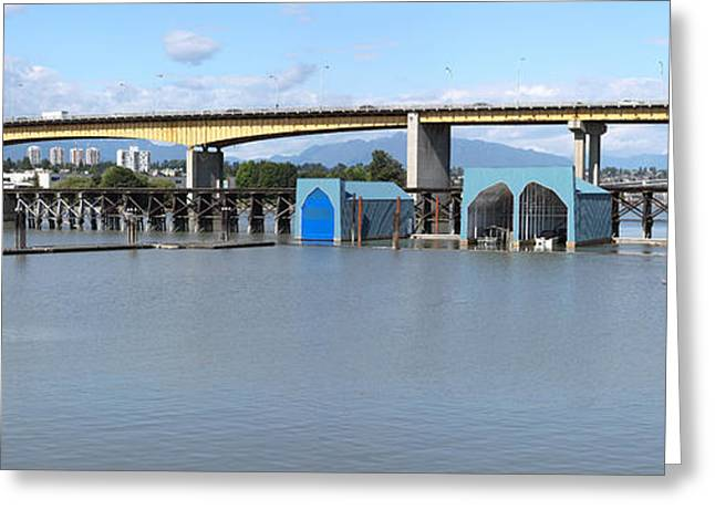 North Vancouver Greeting Cards - Oak Street Bridge Hwy-99 Vancouver BC Canada. Greeting Card by Gino Rigucci