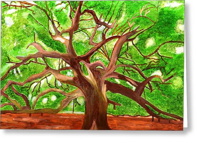 Oak Tree Greeting Card by Magdalena Frohnsdorff