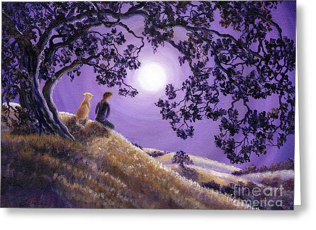 Oak Tree Paintings Greeting Cards - Oak Tree Meditation Greeting Card by Laura Iverson
