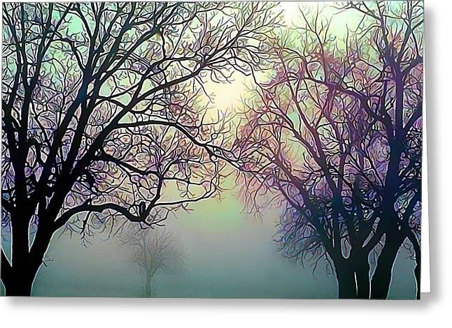 Bucolic Scenes Digital Art Greeting Cards - Oak Trees in the Mourning Myst Greeting Card by Wernher Krutein