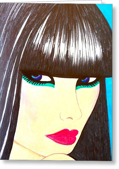 Best Seller Drawings Greeting Cards - Blue Eyes Greeting Card by Alesya Art