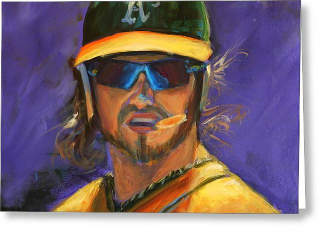 Baseball Paintings Greeting Cards - Oakland Athletics Josh Reddick Greeting Card by Angie Villegas