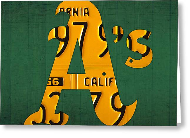 Oakland Athletics Greeting Cards - Oakland Athletics Vintage Baseball Logo License Plate Art Greeting Card by Design Turnpike