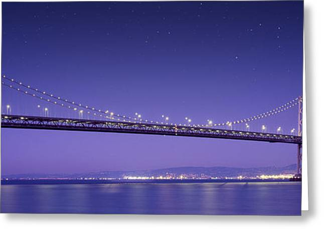 Ocean Panorama Greeting Cards - Oakland Bay Bridge Greeting Card by Aged Pixel