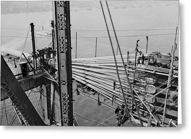 American Bridge Company Greeting Cards - Oakland Bay Bridge construction, 1935 Greeting Card by Science Photo Library