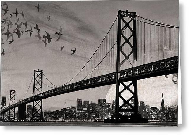 San Francisco Bay Mixed Media Greeting Cards - Oakland Bay Bridge Greeting Card by Cori Pillows