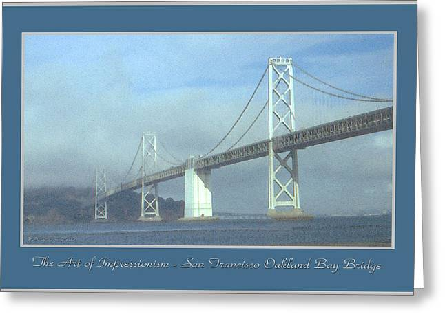 Suspension Drawings Greeting Cards - Oakland Bay Bridge - San Francisco Poster Art Greeting Card by Peter Fine Art Gallery  - Paintings Photos Digital Art